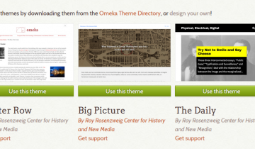 thumbnails of Omeka themes